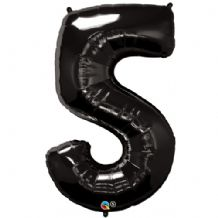 "Black Number 5 Balloon - Foil Number Balloon 1pc (34"" Qualatex)"